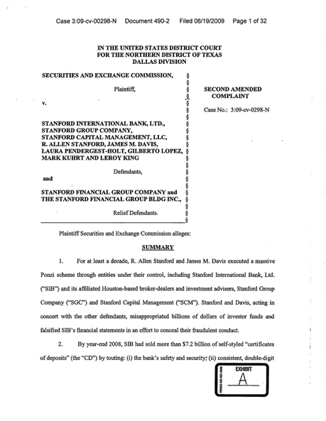 Second Amended Complaint In Sec V Stanford International