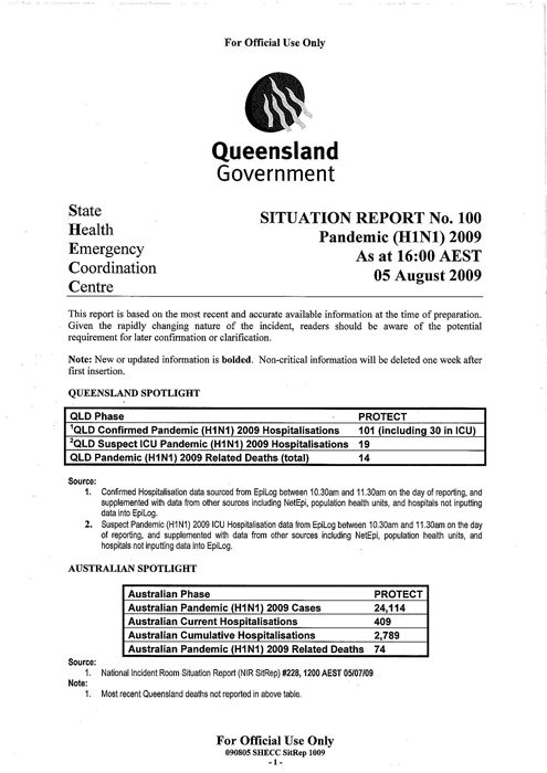 Queensland Government Pandemic H1N1 Situation Report August 5