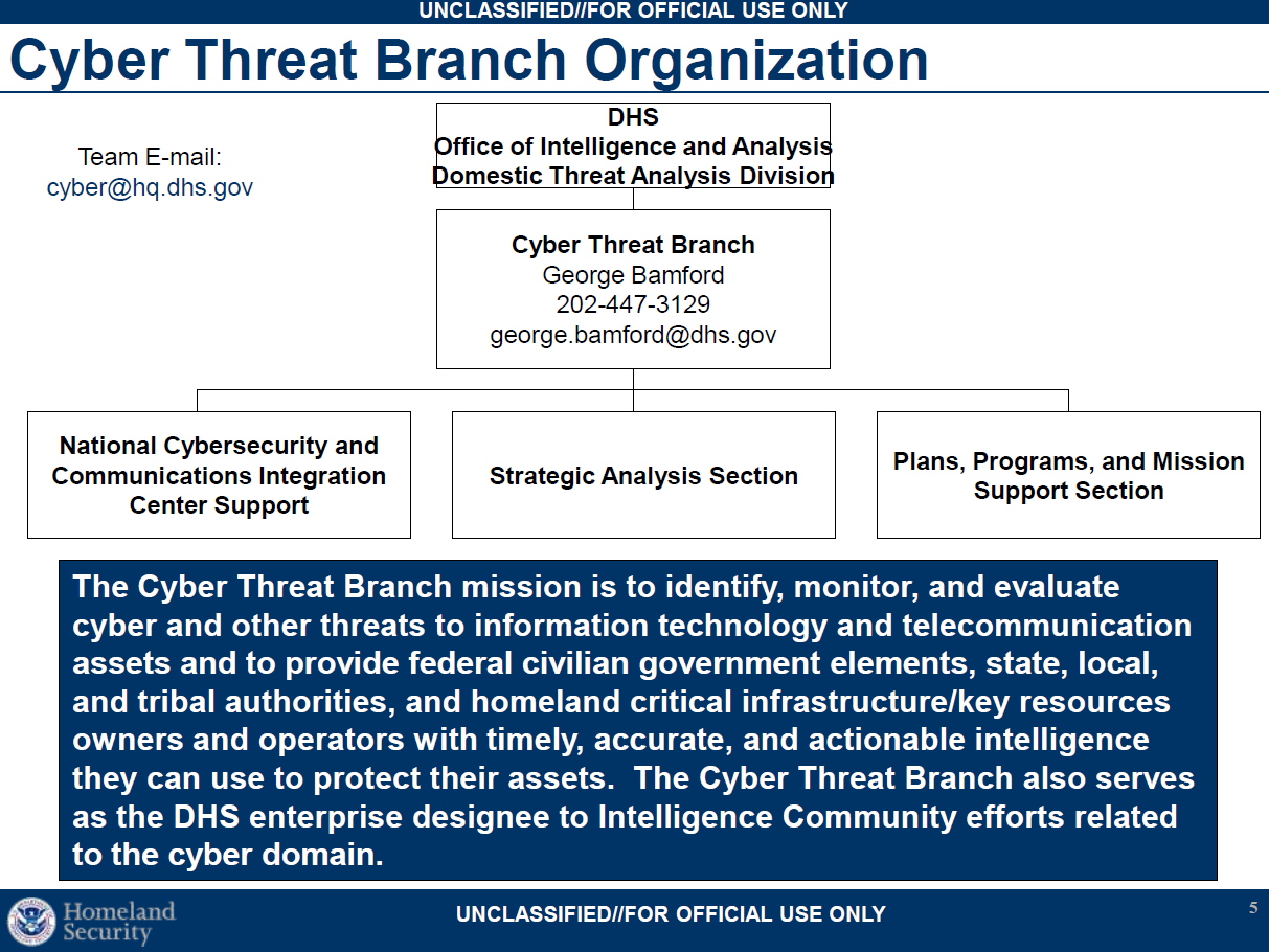 Dhs Cyber Threat To The U S Public Intelligence