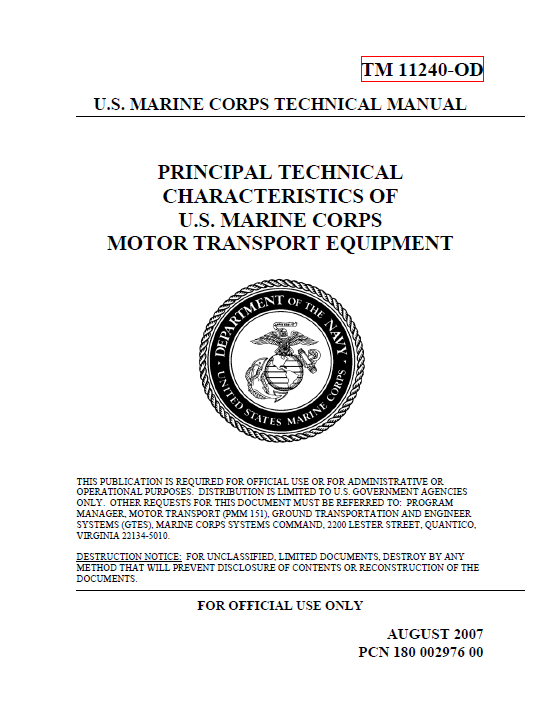 usmc motor transport equipment technical specifications public rh publicintelligence net Engineer Equipment Characteristics Manual 1345 Engineer Equipment Operator