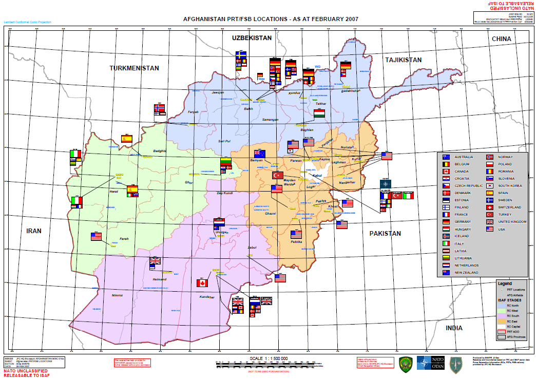 ISAF Afghanistan PRT/FSB Locations Map October 2007 | Public ...