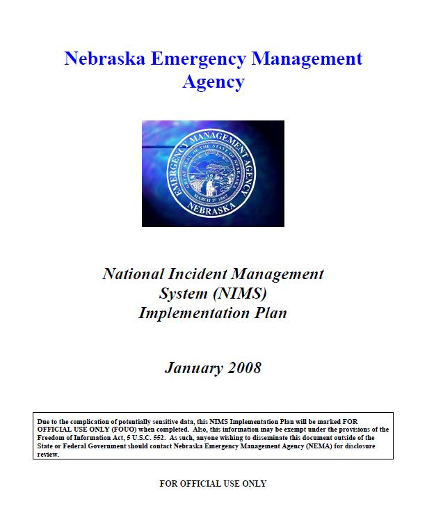 Nebraska National Incident Management System Implementation Plan Public Intelligence