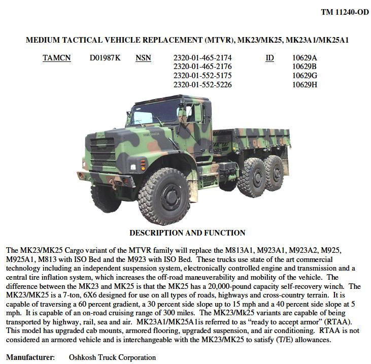 Usmc Motor Transport Equipment Technical Specifications