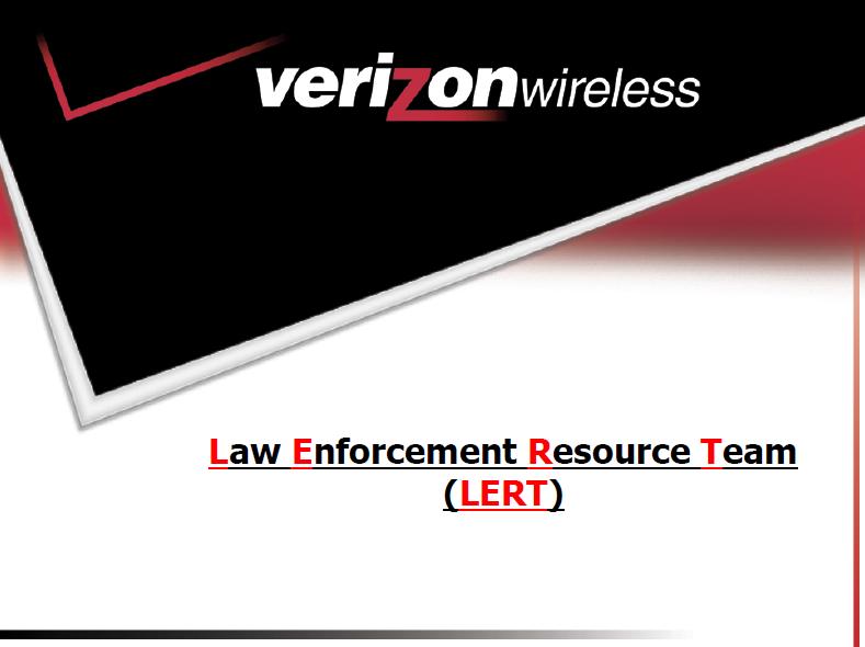 cellco partnership verizon wireless Verizon Wireless Law Enforcement Resource Team (LERT) Guide | Public ...