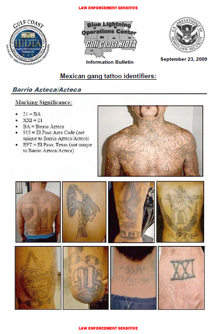 Ules Mexican Gang Tattoos Identification Guide Public Intelligence
