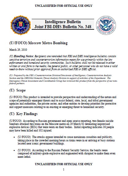 U//FOUO) FBI-DHS Moscow Metro Bombings Joint Intelligence