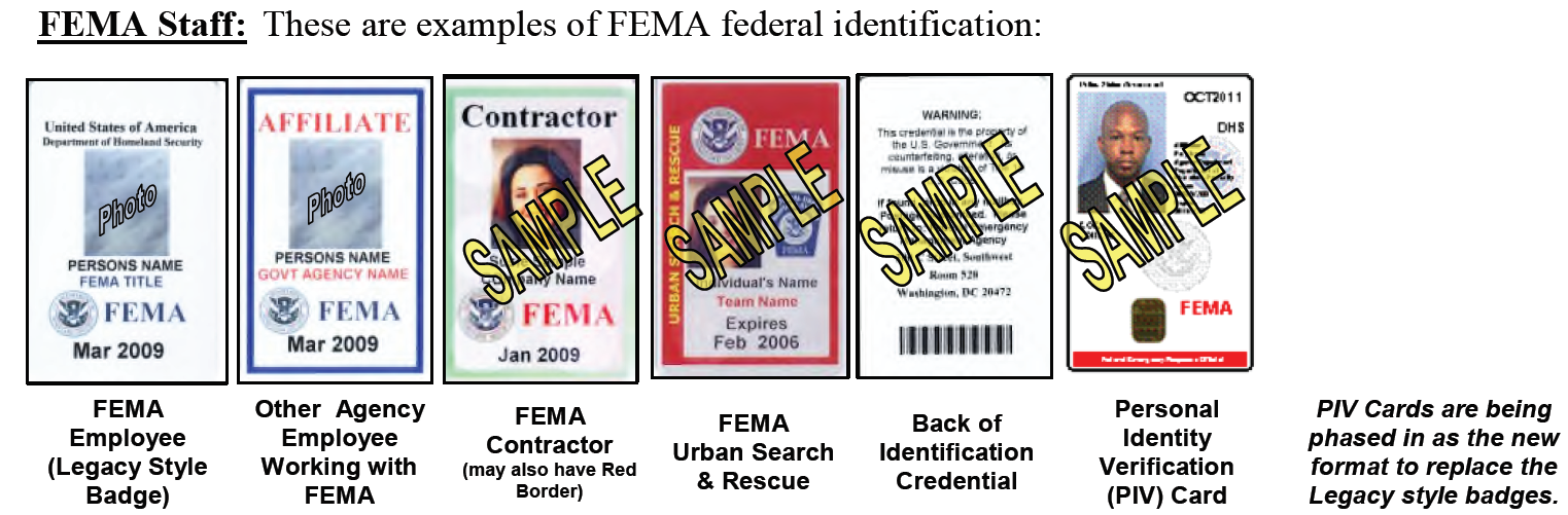 authorized fema and contracted inspector identification badges guide