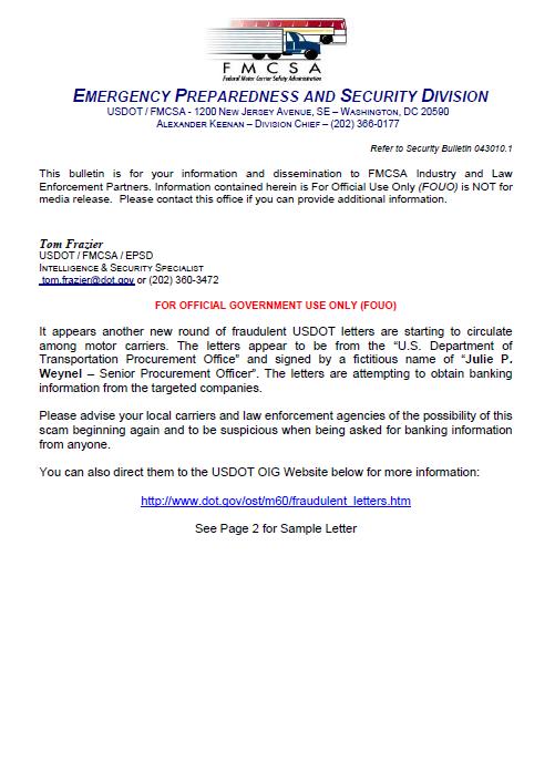 Fraudulent U S Department Of Transportation Letters