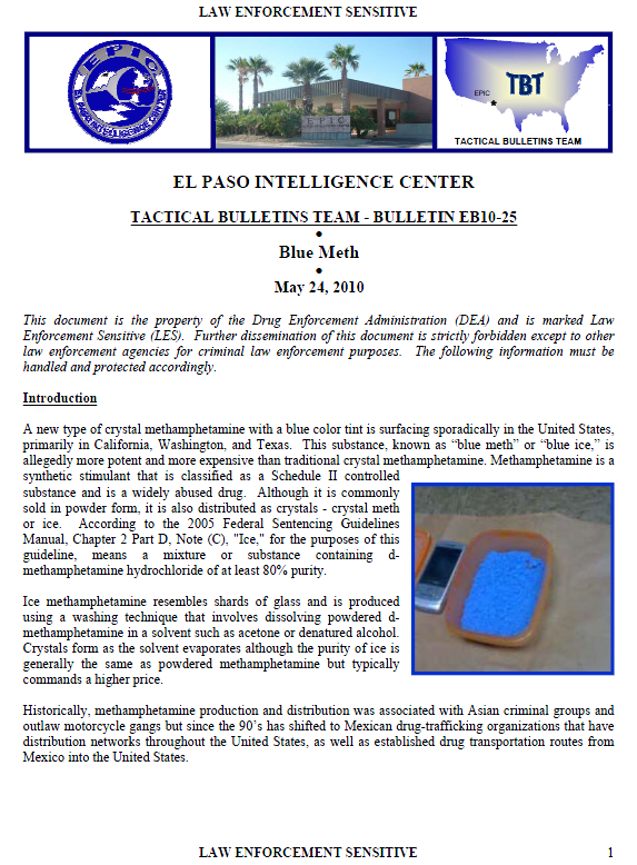 U//LES) El Paso Intelligece Center: Blue Methamphetamine