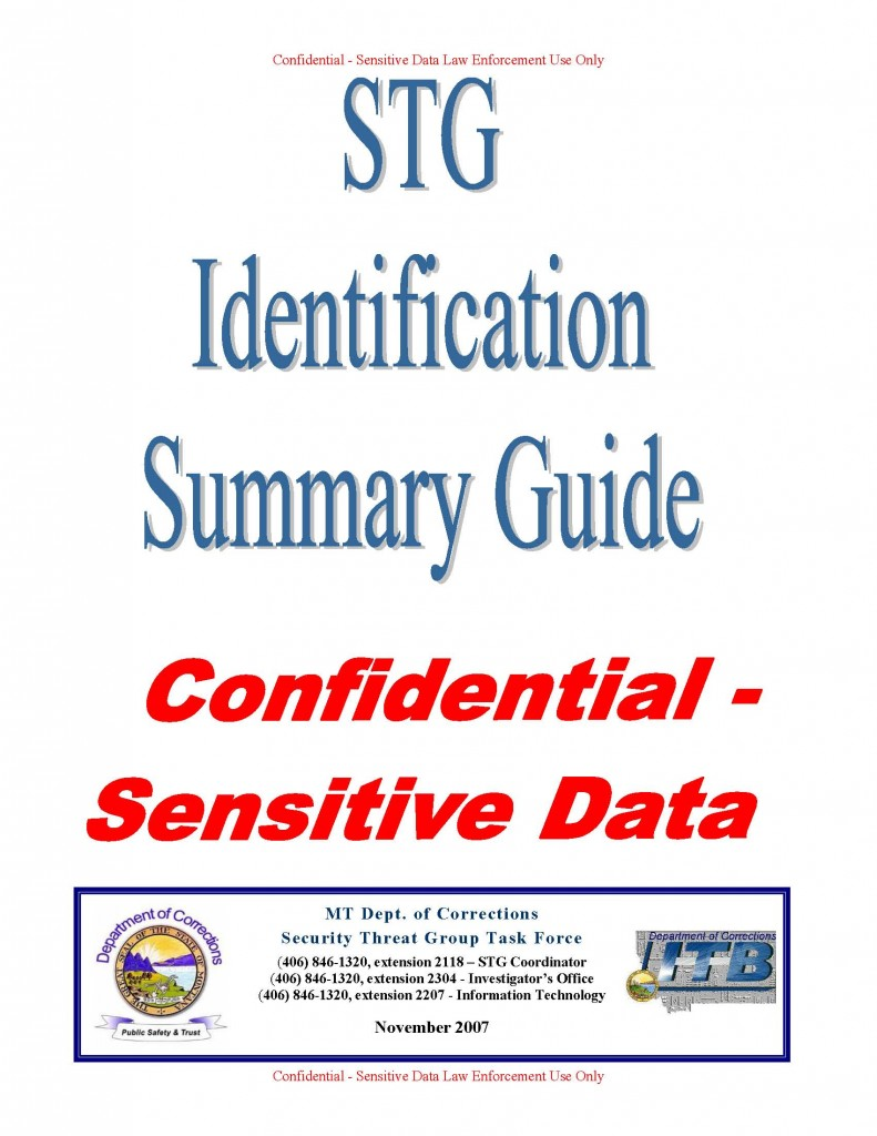 Montana department of corrections gang guide public intelligence