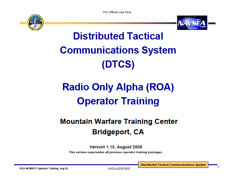 U Fouo Distributed Tactical Communications System Dtcs
