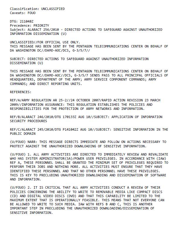 U//FOUO) Army Unauthorized Information Dissemination