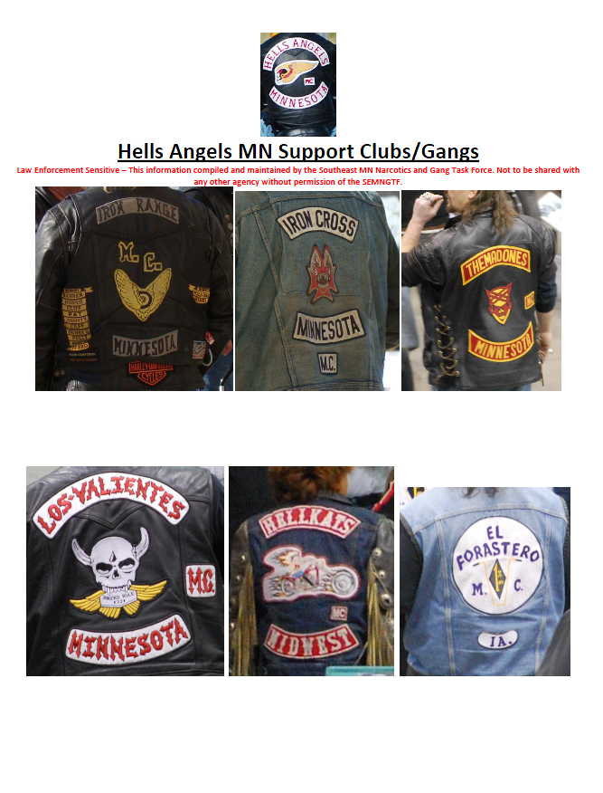 Hells Angels MN Support Clubs/Gangs
