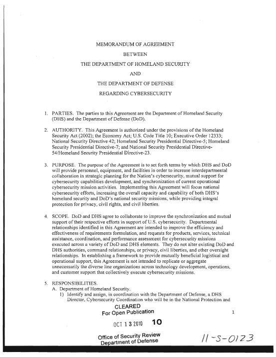 Dhs Dod Memorandum Of Agreement On Cybersecurity October 2010