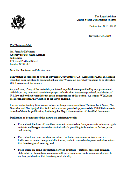 U S State Department Letter To Wikileaks Public