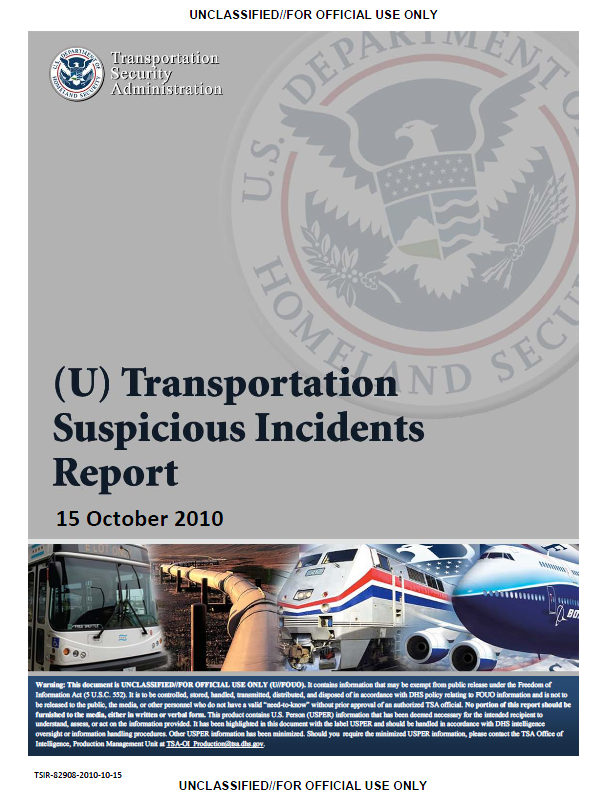 u    fouo  tsa transportation suspicious incident report