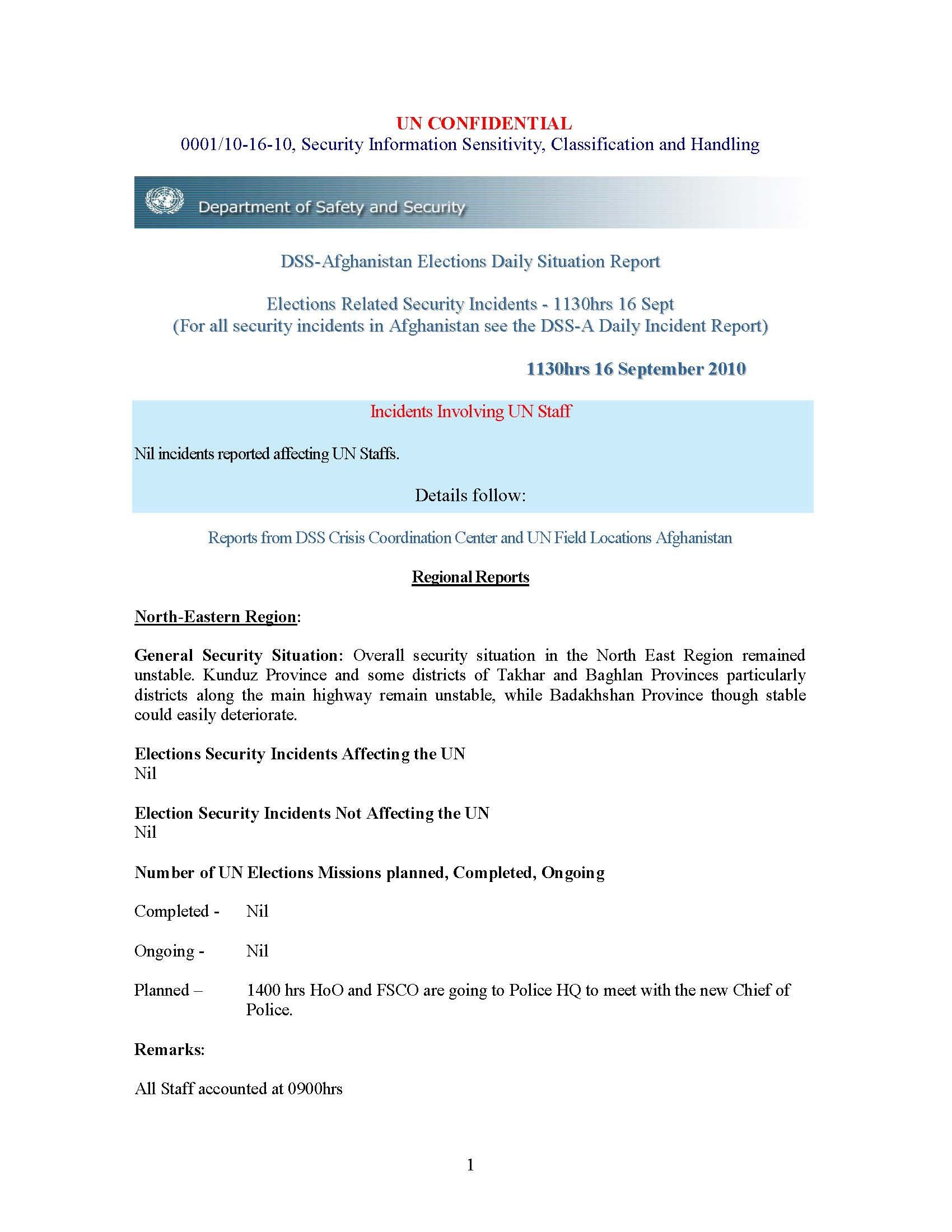 Confidential UN Afghan Elections Situation Reports September 2010 ...