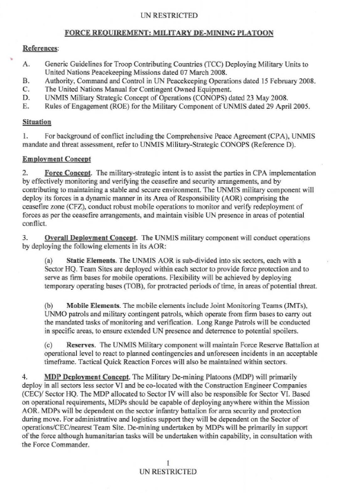 Restricted Un Sudan Military De Mining Platoon Requirements Public