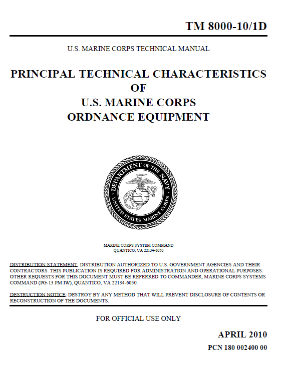 U    Fouo  Usmc Weaponry Technical Information Manual