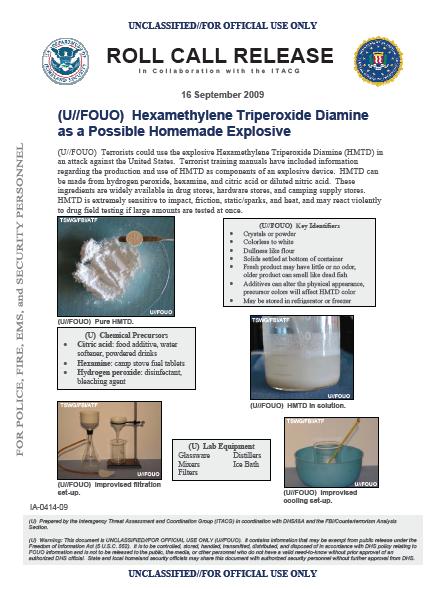 U//FOUO) DHS Hexamethylene Triperoxide Diamine (HMTD