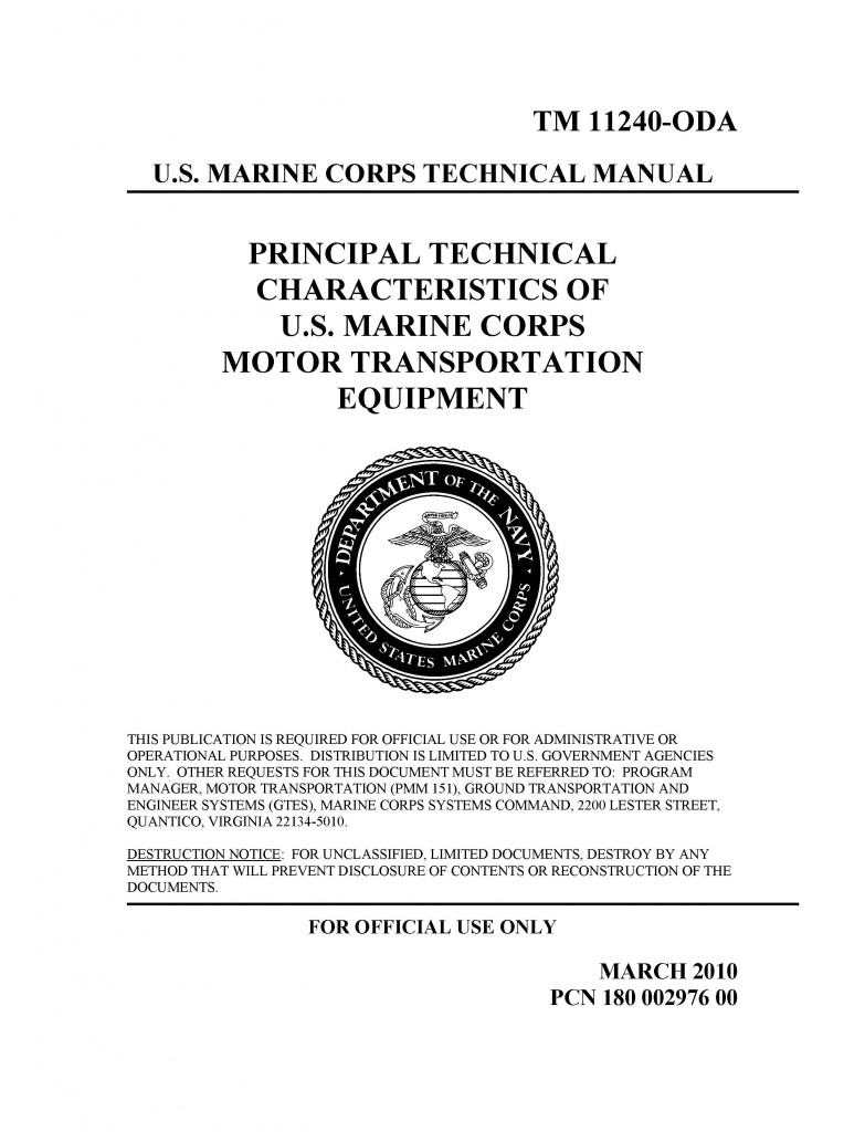 marine corps motor transport characteristics manual