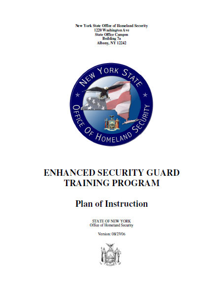 New York Enhanced Security Guard Training Program Instruction Plan ...