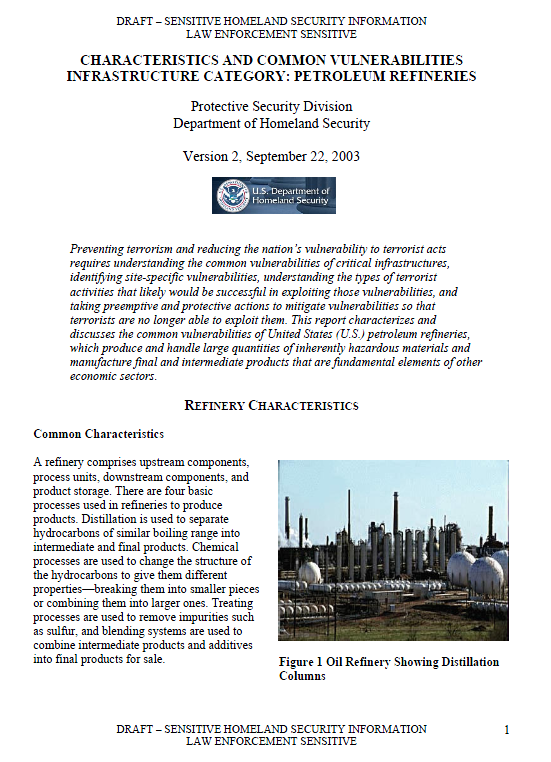 ... COMMON VULNERABILITIES INFRASTRUCTURE CATEGORY: PETROLEUM REFINERIES