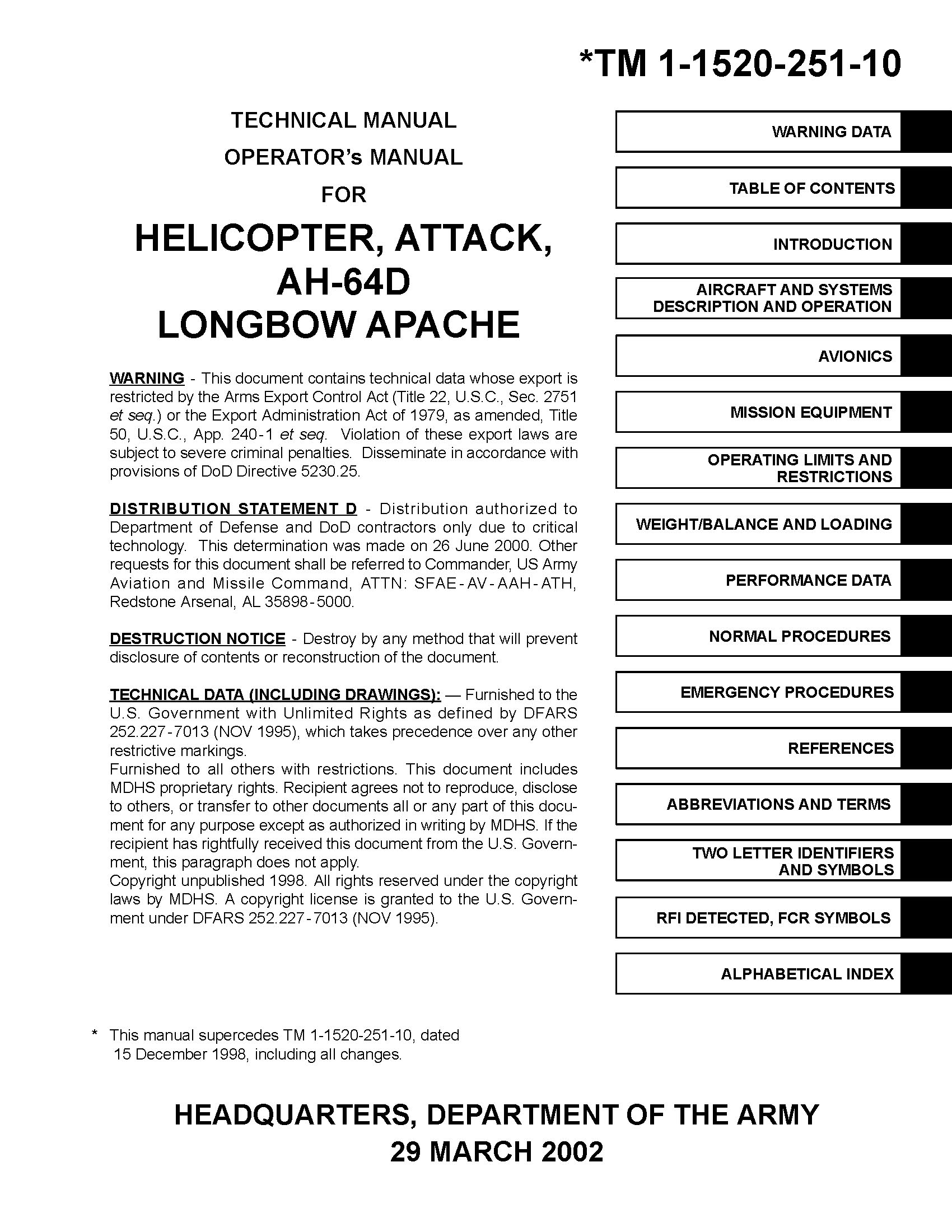 US Army Apache Longbow AH-64D Attack Helicopter Operator's Manual