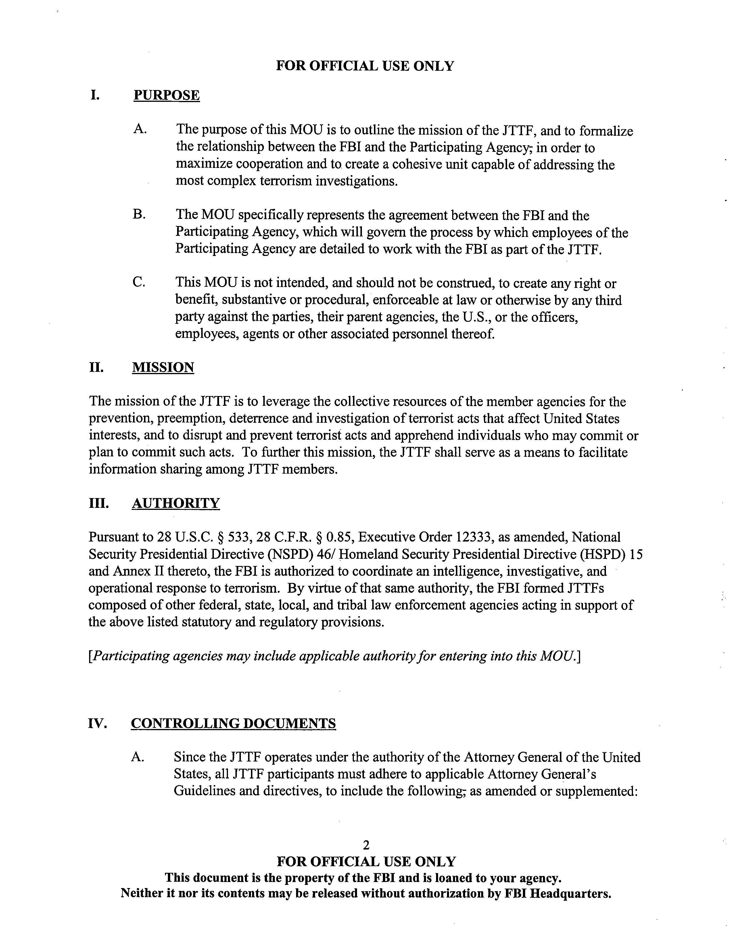 fbi joint terrorism task force jttf model memorandum of