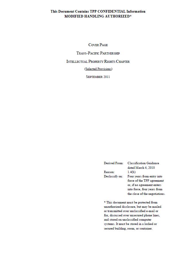 Trans Pacific Partnership Tpp Leaked Texts June September 2011