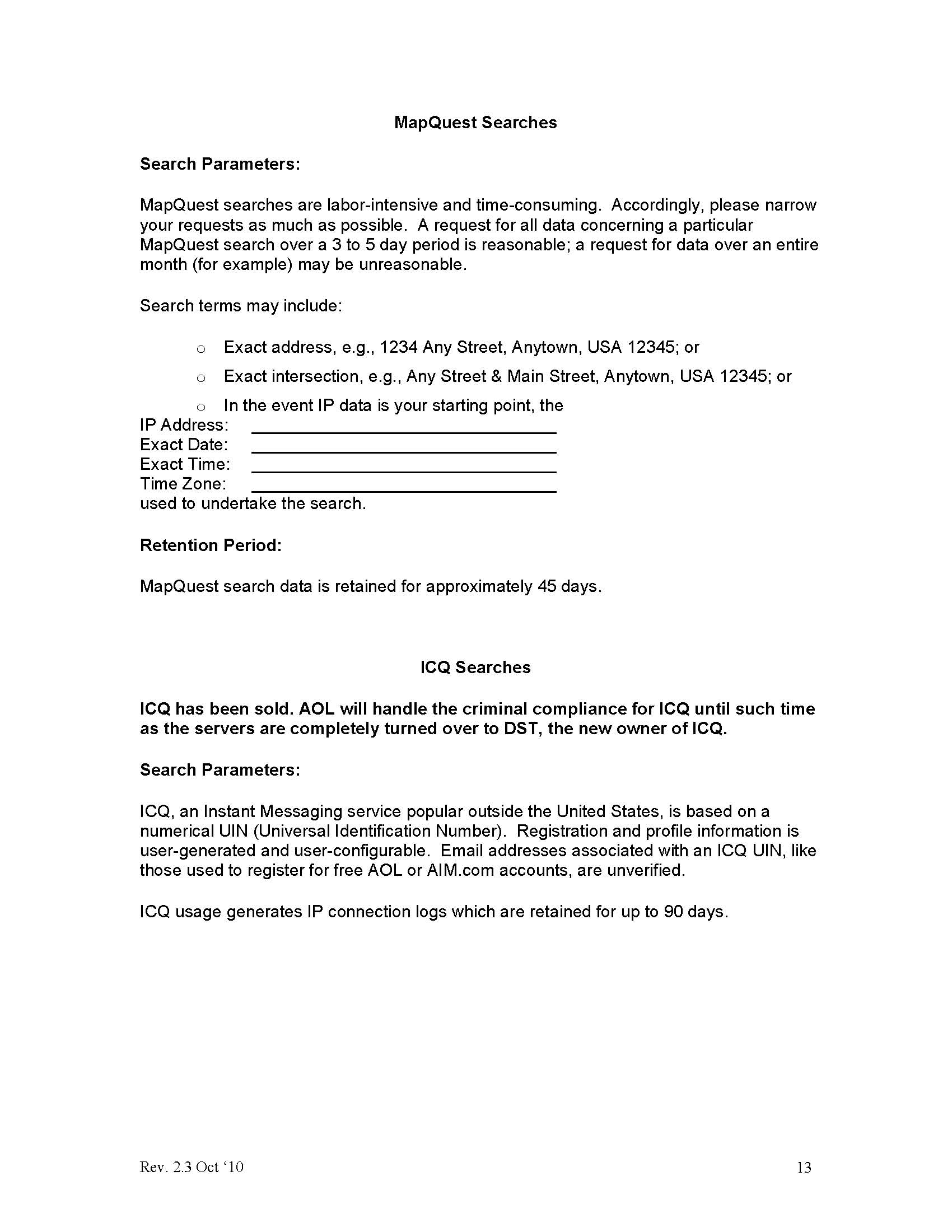 Aol Information Request Subpoena Guidelines October 2010