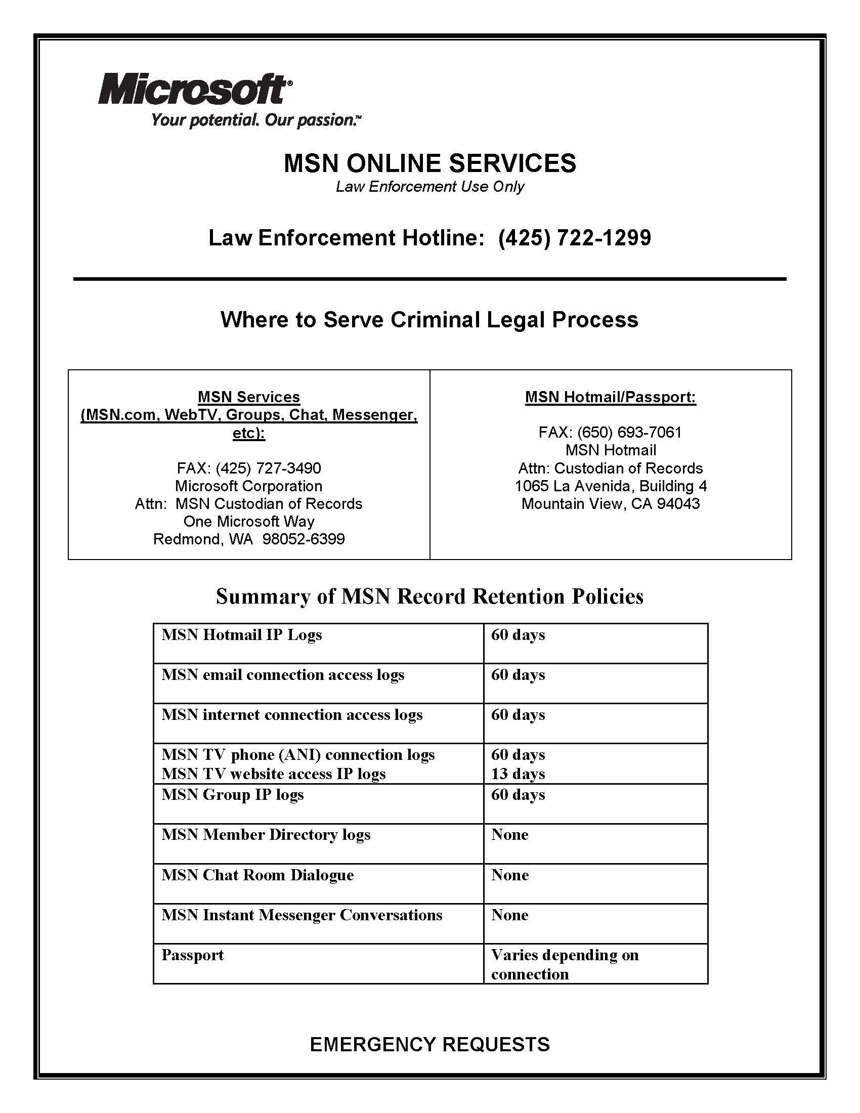 Microsoft MSN Online Services Subpoena/Legal Compliance Guide