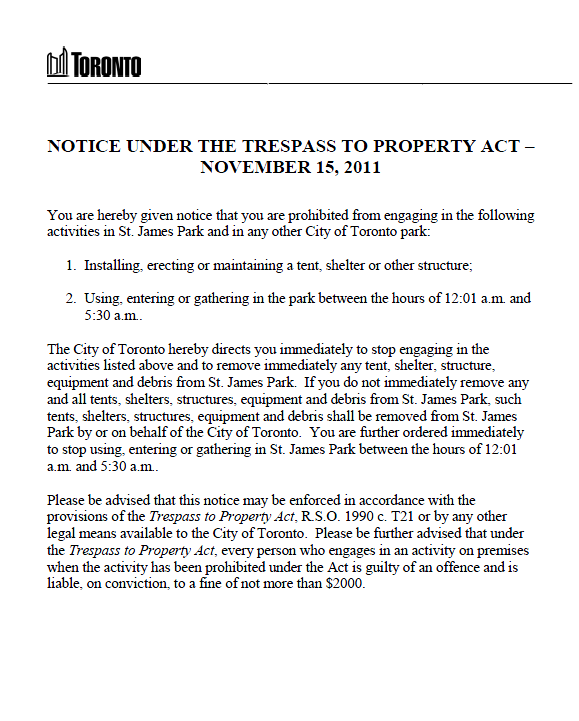 Occupy toronto eviction notice public intelligence occupy toronto eviction notice altavistaventures Image collections
