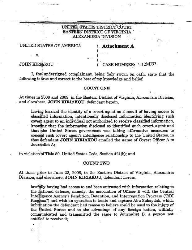 John Kiriakou Former CIA Officer Torture Leak Criminal Complaint
