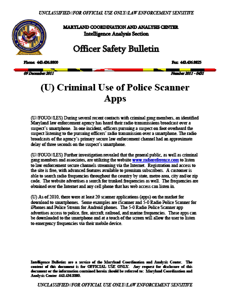 U//FOUO/LES) Maryland Fusion Center Criminal Use of Police Scanner