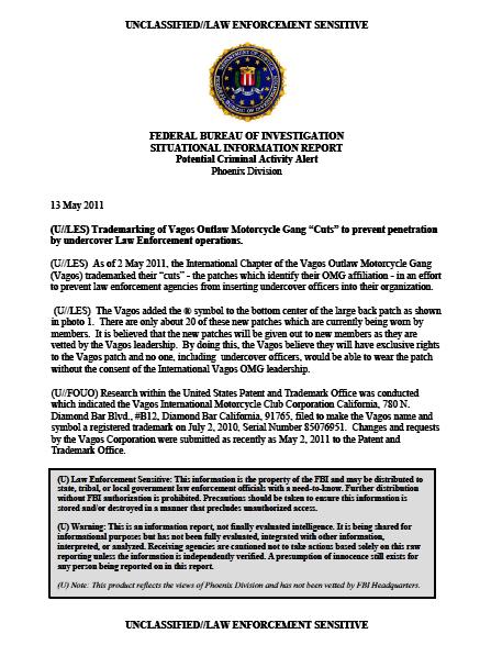 U//LES) FBI Motorcycle Gang Trademarks Logo to Prevent