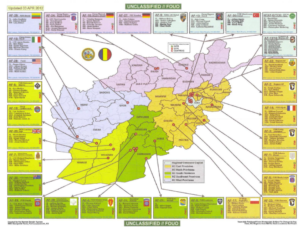 UFOUO US Army Afghanistan Human Terrain Teams Map April - Terrain map of the us