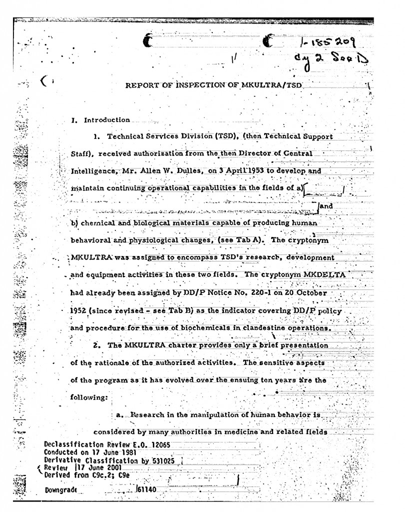 cia inspector general mkultra investigation report 1963
