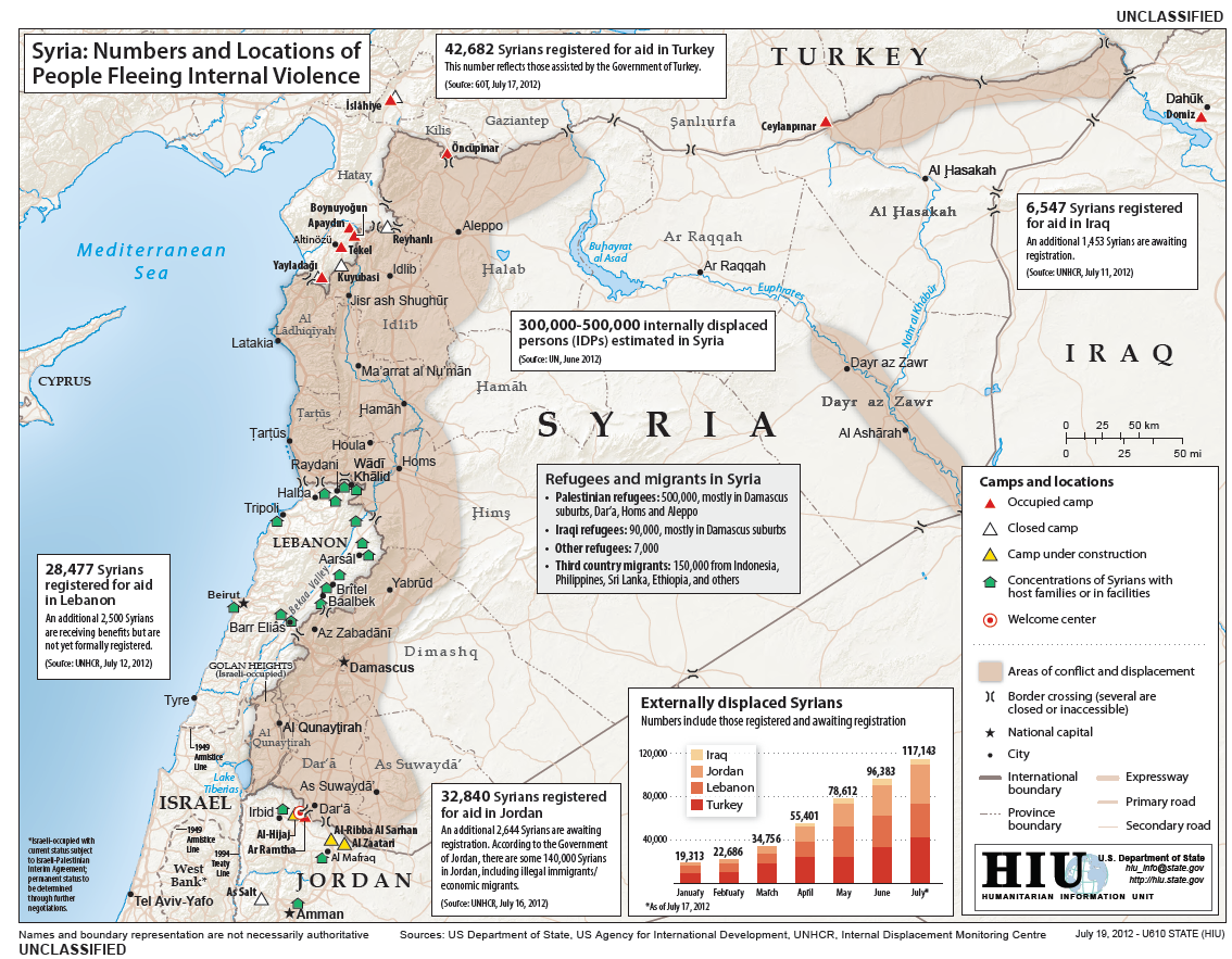 US State Department Map Numbers And Locations Of Syrian People - Us humanitarian map