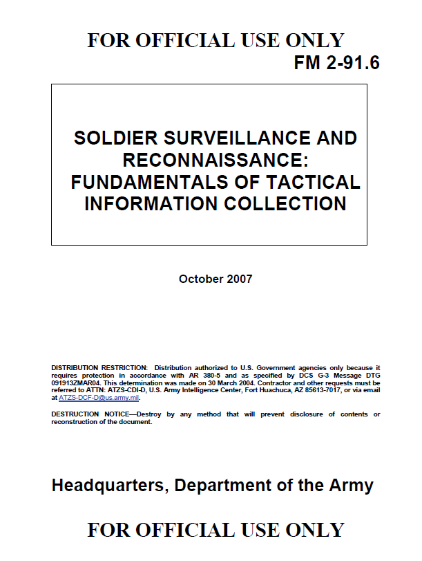 Ufouo Us Army Soldier Surveillance Fundamentals Of Tactical