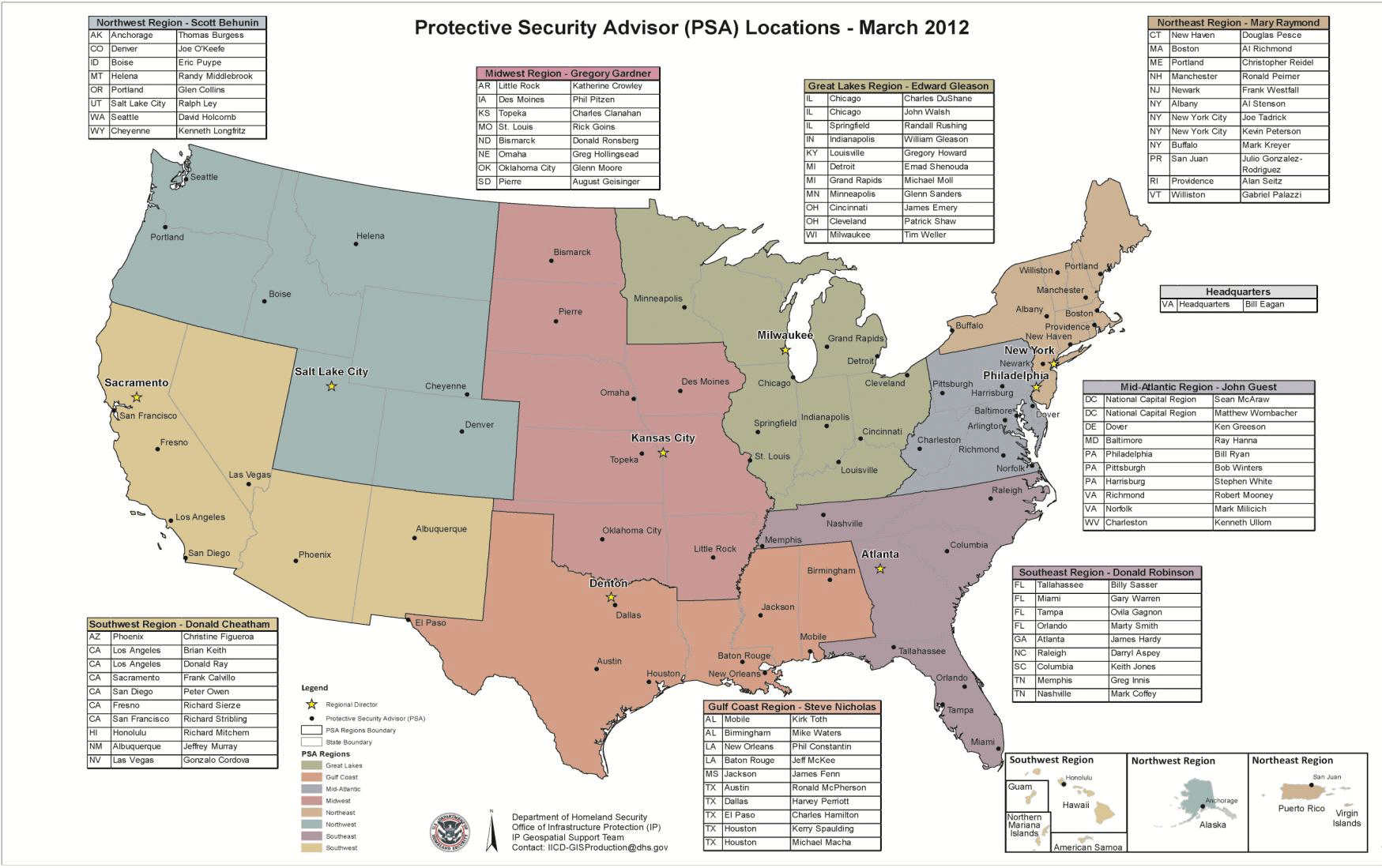 DHS Protective Security Advisor PSA Names And Locations March - Fema region map
