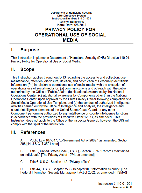 Dhs privacy policy for operational use of social media for Operational guidelines template