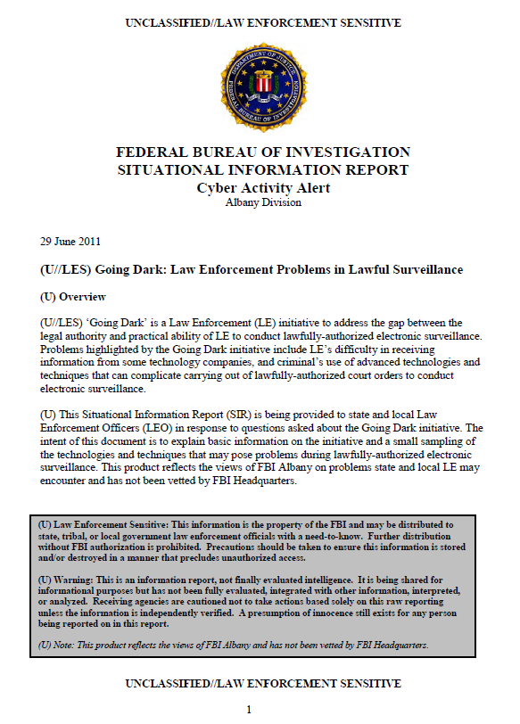 U les fbi going dark law enforcement problems in for Bureau report