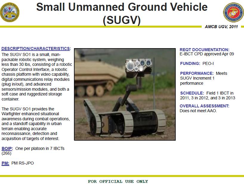 U//FOUO) U S  Army – Marine Corps Unmanned Ground Systems