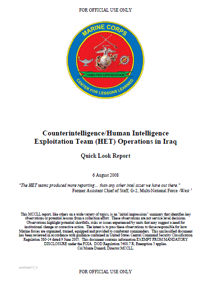 U//FOUO) U.S. Marine Corps Human Intelligence Exploitation Team ...