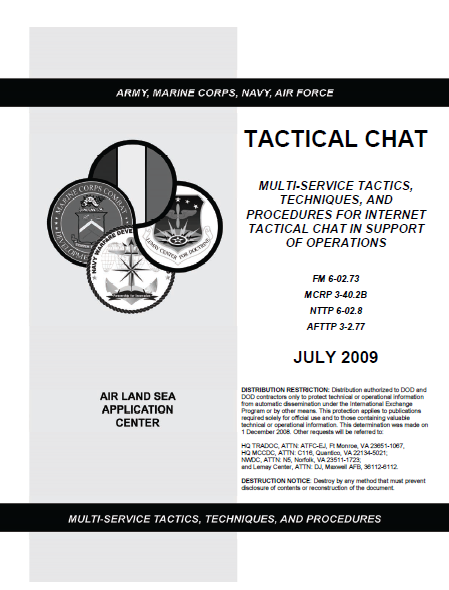 Restricted U S  Military Multi-Service Tactical Chat Manual
