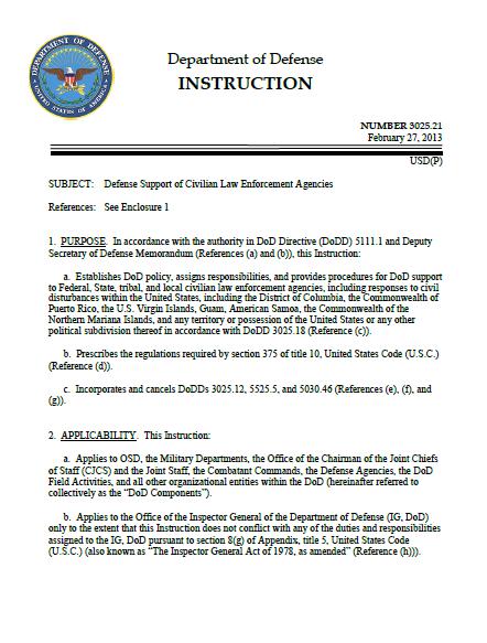 Dod Instruction 302521 Defense Support Of Civilian Law Enforcement