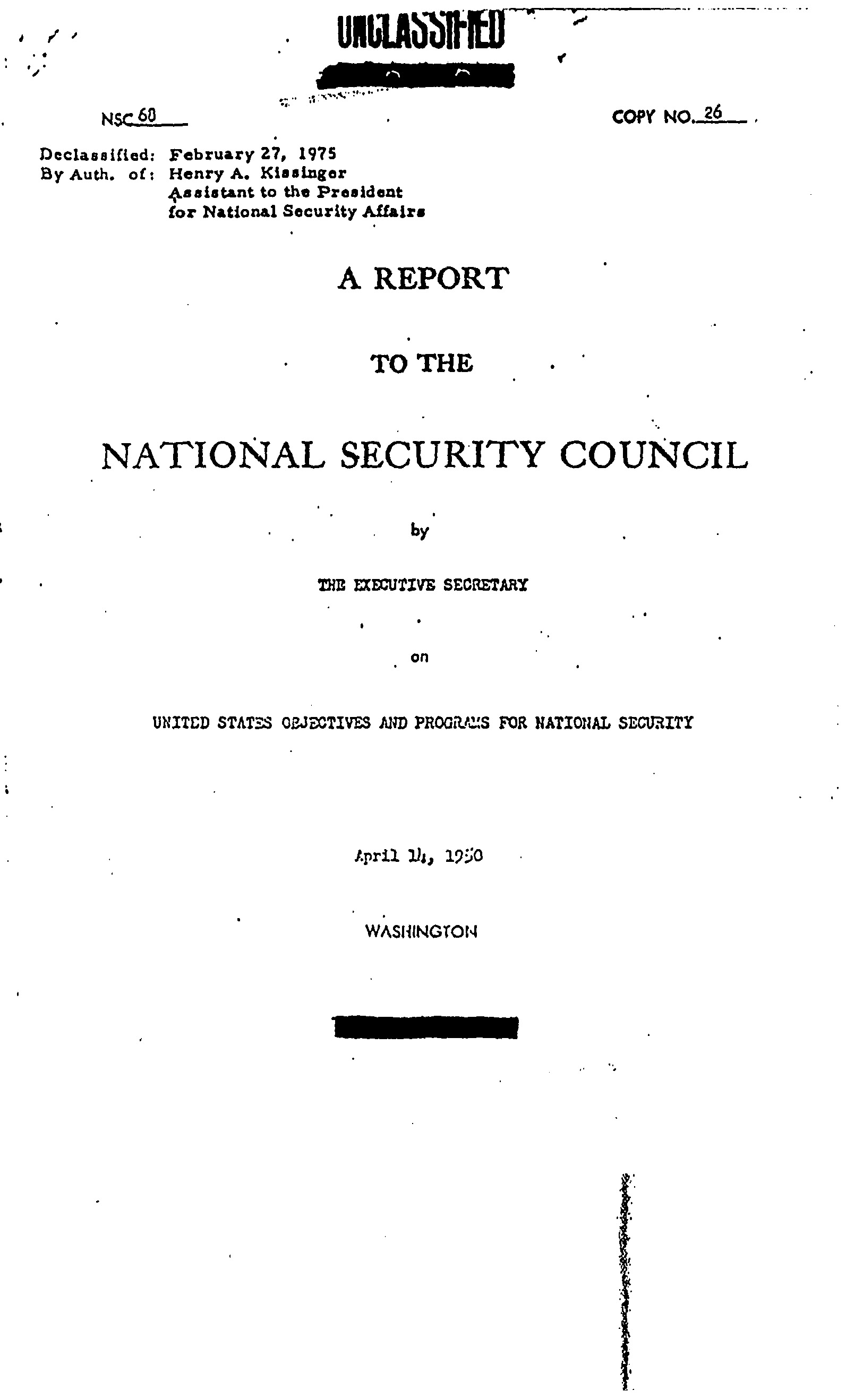National Security Council Report  (NSC ) US Objectives And US NSC  Page  Nsc
