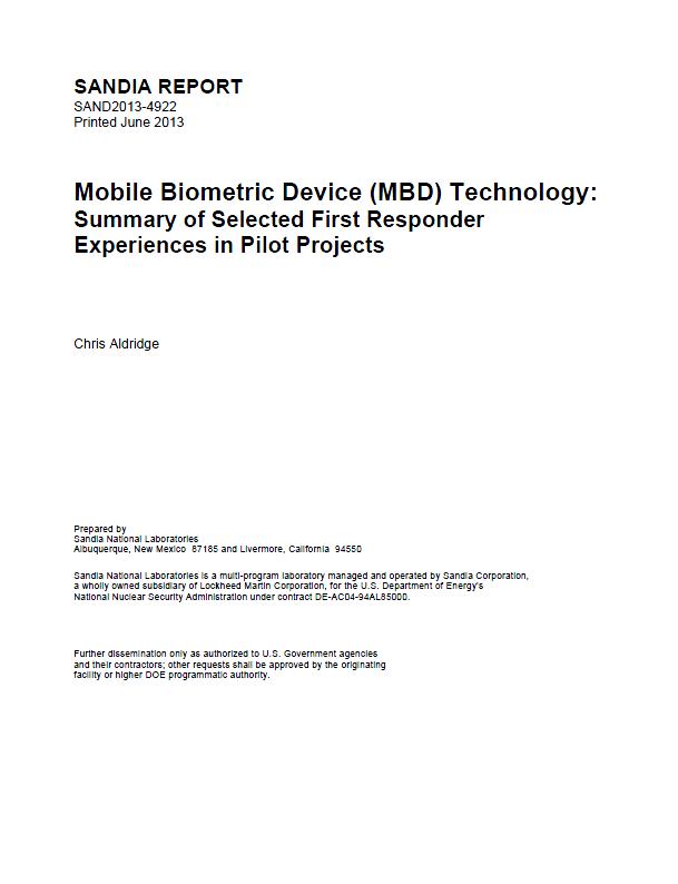 Sandia National Laboratories Mobile Biometric Device Technology ...