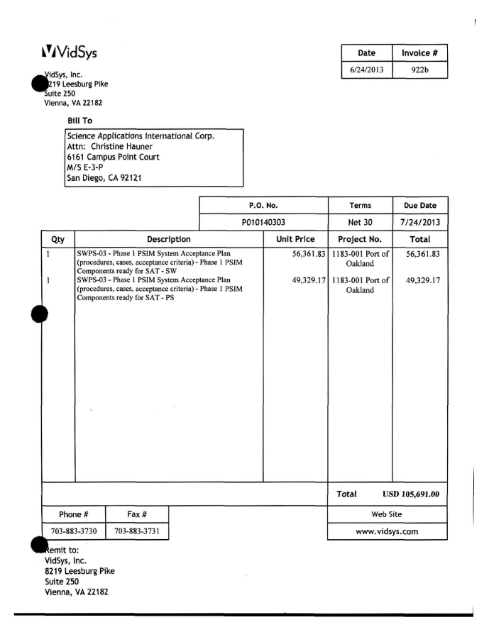 Oakland Domain Awareness Center Purchasing Invoices March